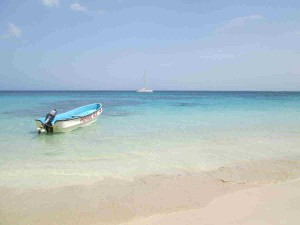 From the Beach Las Terrenas beach with blue water and boat