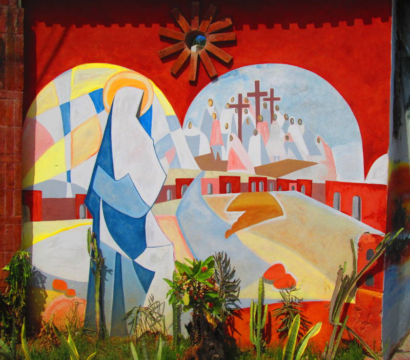 Catholic Abstraction Mimicking Stained Glass has many crosses and congregants along with what appears to be Jesus