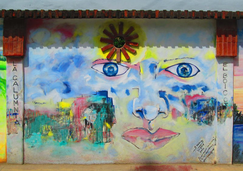 Appears to be modern abstraction. I am personally quite fond of this one. Shows eyes a nose and lips but not the complete face with a sun built in to the top of the wall and colorful splotches