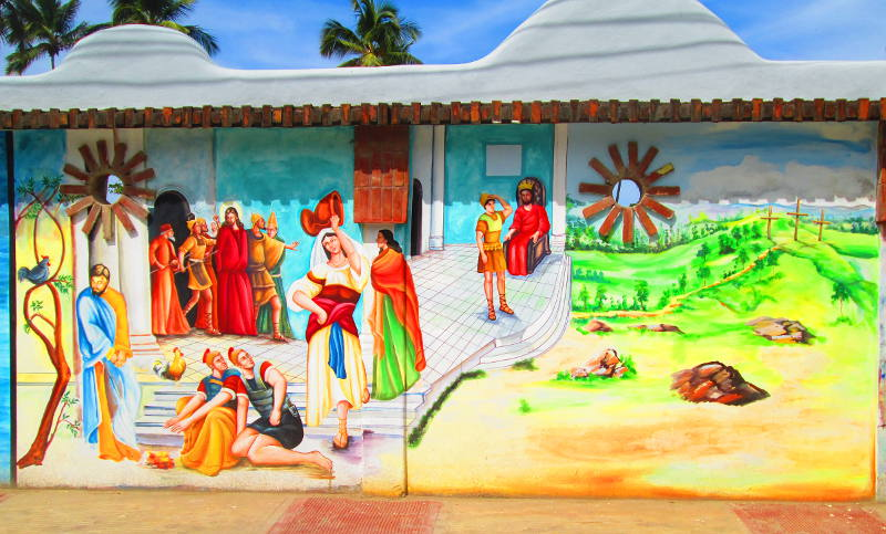 Las Terrenas Mural Appears to picture Romans, Mary, Jesus and Pharisees