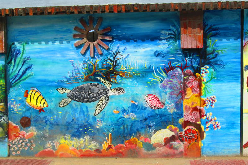 Mural Depicting underwater scene including Caribbean Sea Turtle and Other Aquatic Life in Las Terrenas Dominican Republic