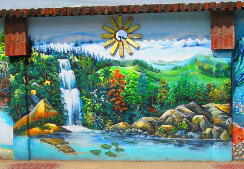 Mural of Beautiful Caribbean Waterfall in Las Terrenas Dominican Rebuplic