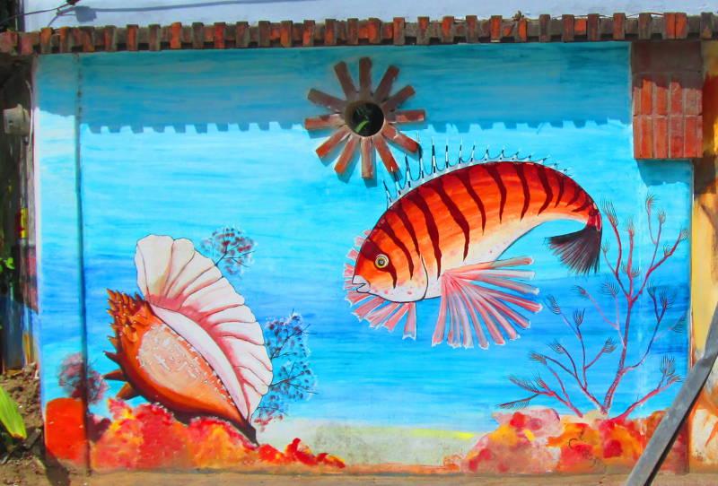 Some beautiful fish on the Las Terrenas Graveyard Mural in the Caribbean