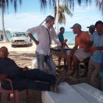 chef talks to some local dominican fisherman i